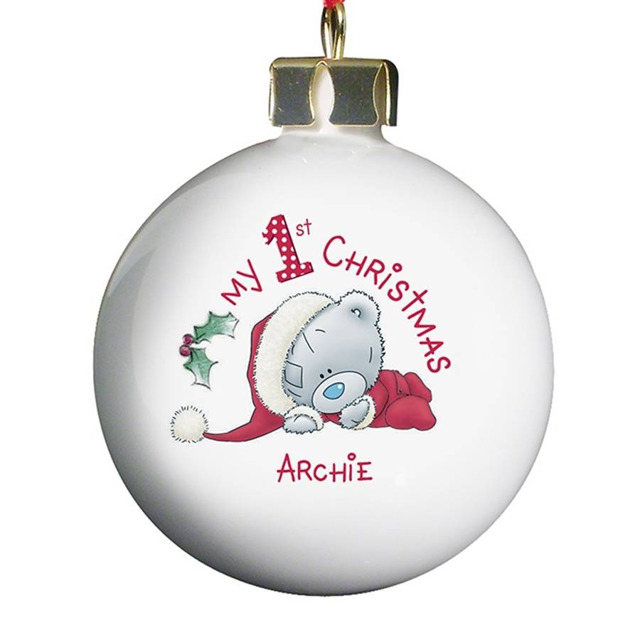 Personalised baby 39 s first christmas bauble by hope and for Babys first christmas decoration