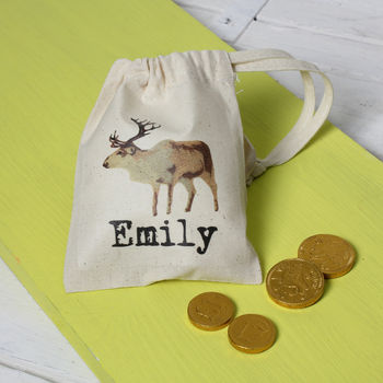 Personalised Christmas Reindeer Mini Gift Bag