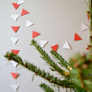 Christmas Garland Red And White Geometric Triangles