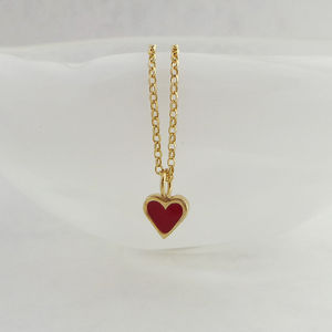 Gold And Enamelled Heart Necklace