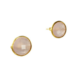 Cressida Stud Earrings Pink Chalcedony And Gold