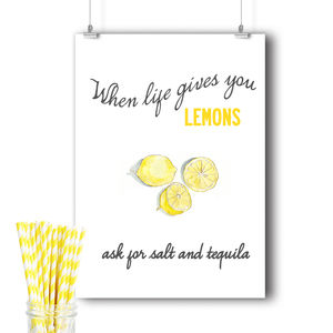 Vintage Lemon And Tequila Or Gin Kitchen Print