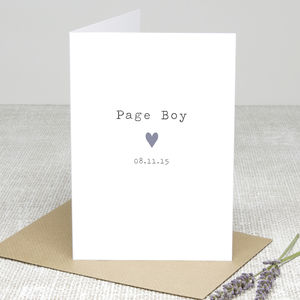 'Page Boy Heart' Personalised Card