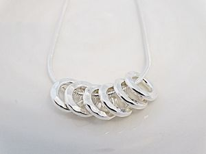 60th Birthday Silver Rings Necklace