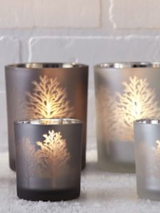 Frosted Glass Tree Silhouette Candle Holder - christmas lighting