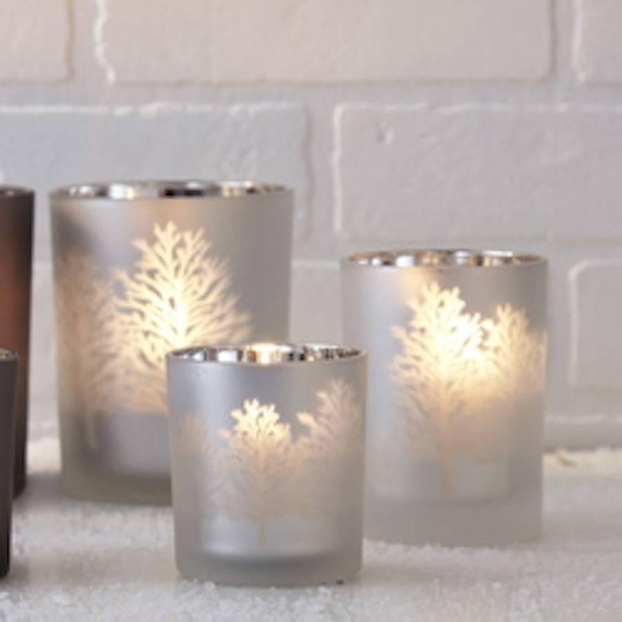 Frosted glass tree silhouette candle holder by ella james for How to make glass candle holders