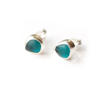 Teal English Sea Glass Studs