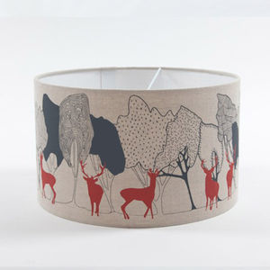 Day Woods With Stags Linen Lampshade