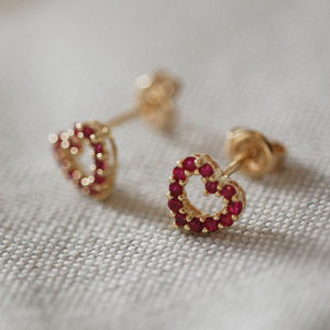 Ruby Heart Earrings* - earrings
