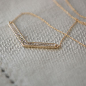Chevron Necklace With Pave Diamonds - april birthstone