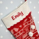 Personalised Christmas Stocking With Knitted Cuff