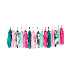 Aqua, Pink And Silver Tassel Garland - baby's room