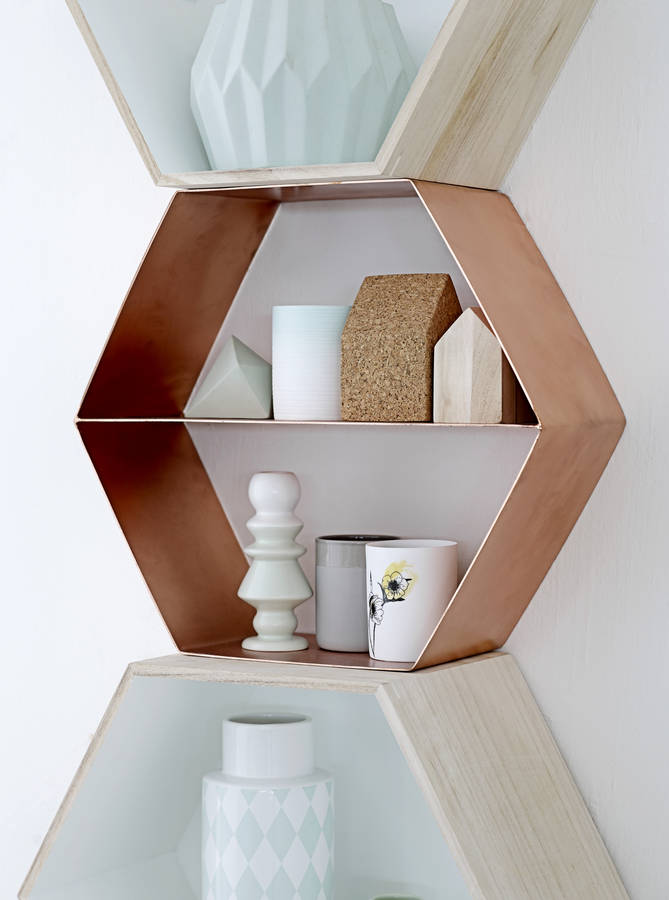 danish copper hexagonal shelf by the forest co. Black Bedroom Furniture Sets. Home Design Ideas