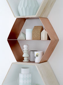 Danish Copper Hexagonal Shelf - soft colour pop