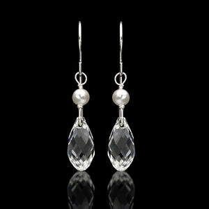 Crystal Drop with Pearl Earrings - Silver - earrings