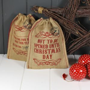 Mini Christmas Sack 'Not To Be Opened…' - stockings & sacks