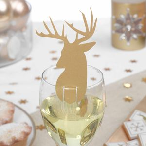 10 Gold Stag Glass Decorations - home
