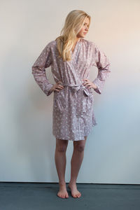 Cotton Short Kimono In Dusky Pink Swallow Print