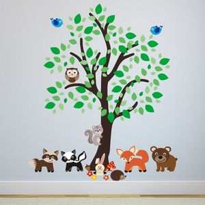 Forest Tree With Woodland Animals Wall Sticker - wall stickers by room