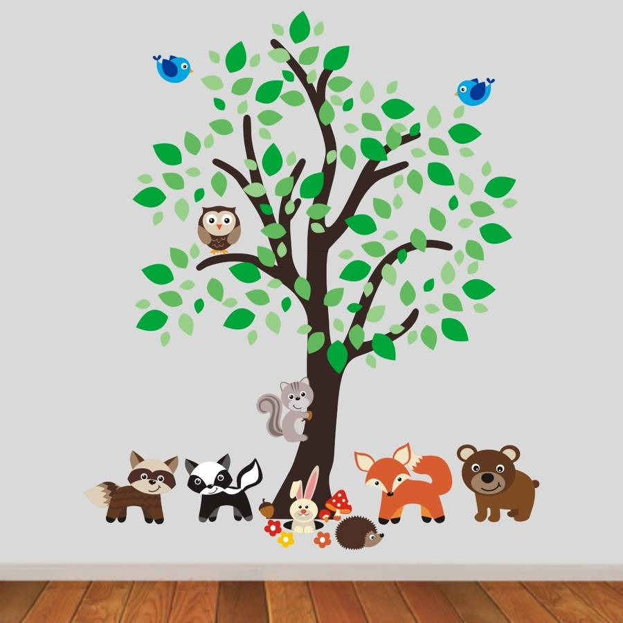 forest tree with woodland animals wall sticker by mirrorin. Black Bedroom Furniture Sets. Home Design Ideas
