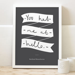 'Had Me At Hello' Wedding Print