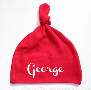 Personalised Red Baby Knot Hat