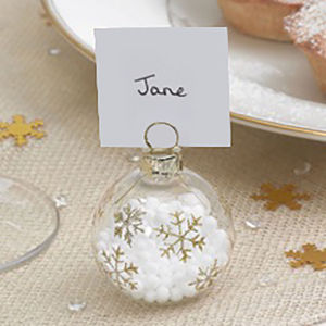 Christmas Gold Snowflake Bauble Place Name Holders - table decorations