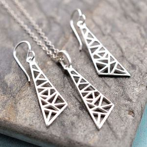 Silver Geometric Drop Triangle Jewellery Set