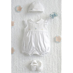 Cotton Romper, Bonnett And Shoes Set - christeningwear