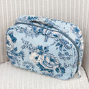 Canvas Wash And Make Up Bags In Blue Rosetta Print