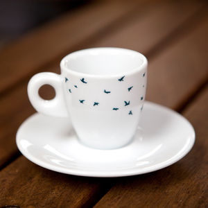 Navy Birds Espresso Cup And Saucer Gift Set - crockery & chinaware
