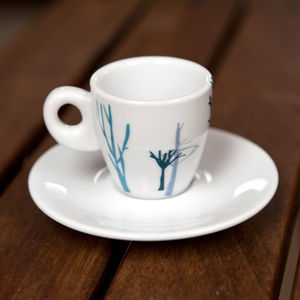 Blue Trees Espresso Cup And Saucer Set