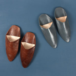 Classic Men's Moroccan Pointed Leather Slippers - shoes & boots