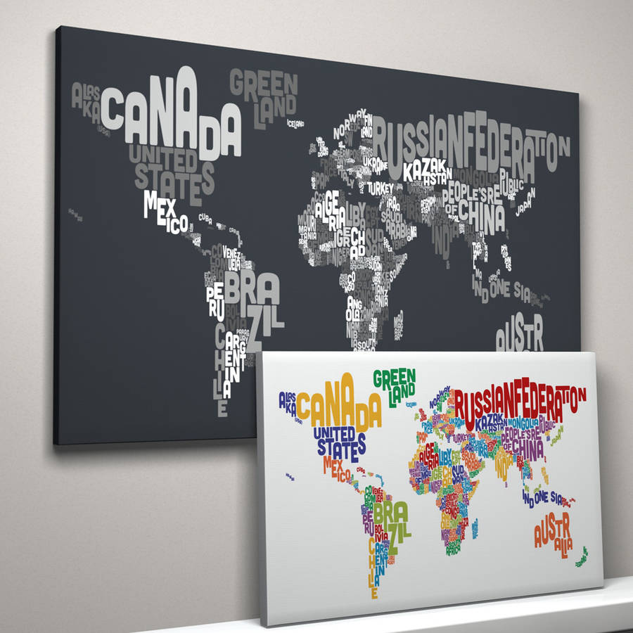 Typography World Map Text Art Print