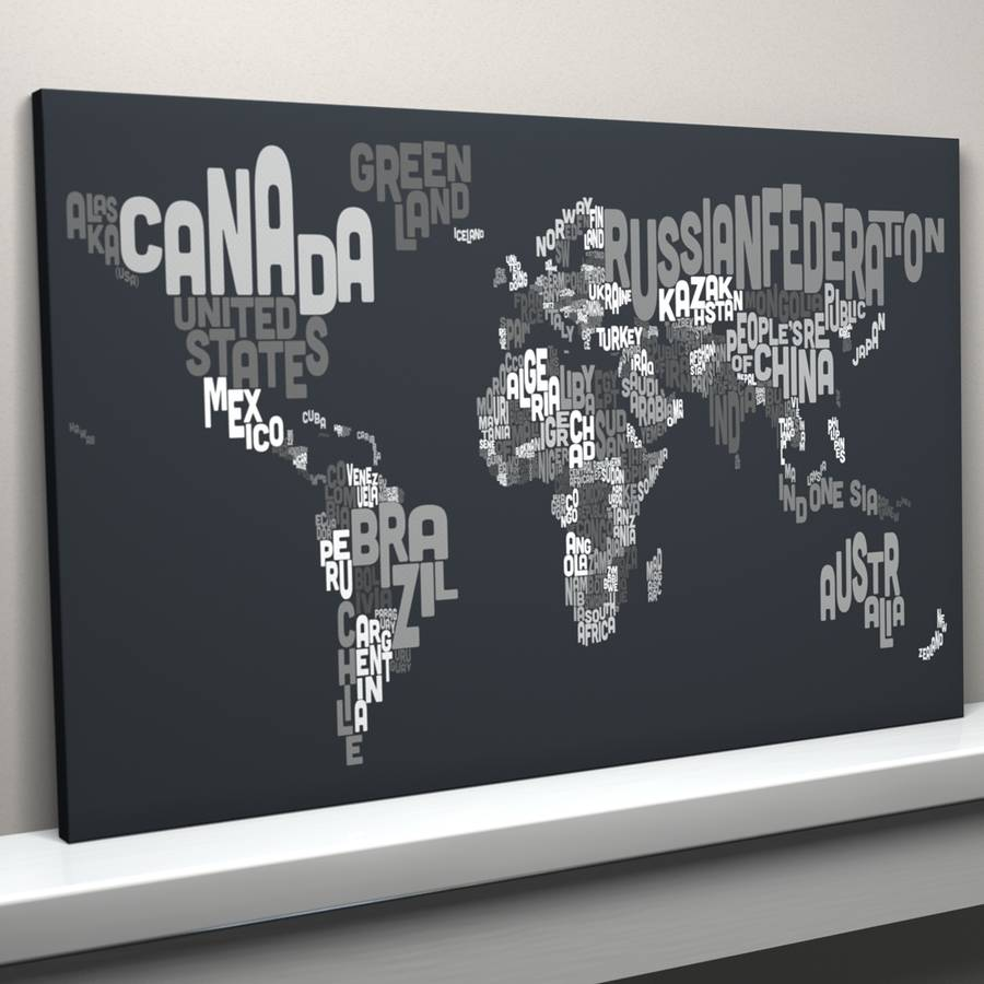 Typography world map text art print by artpause charcoal grey canvas version gumiabroncs Image collections
