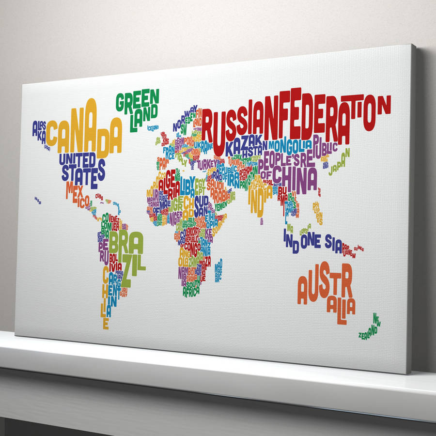 Typography world map text art print by artpause notonthehighstreet multi coloured text canvas version gumiabroncs Images