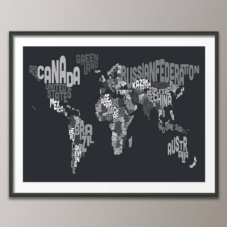 Typography world map text art print by artpause notonthehighstreet charcoal grey art print poster frame not included gumiabroncs Choice Image