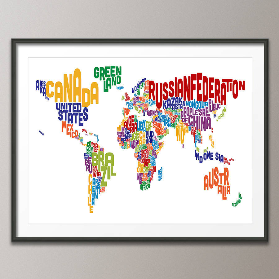 Typography world map text art print by artpause notonthehighstreet multi coloured text art print poster frame not included gumiabroncs Image collections