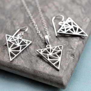 Silver Geometric Triangle Jewellery Set