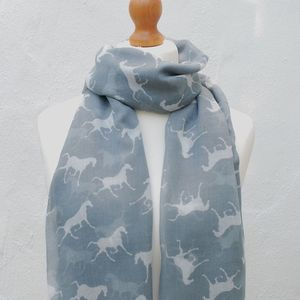 Silver Grey Horses Print Scarf - women's accessories