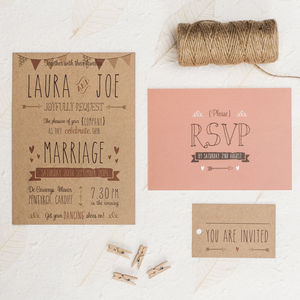 'Meant To Be' Wedding Invitation - wedding stationery