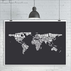 Typography World Map Print Countries
