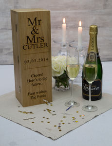 Personalised Oak Champagne And Wine Bottle Gift Box