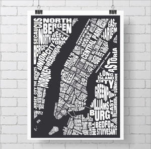 New York City Typography Map - posters & prints