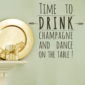 Drink Champagne And Dance Wall Sticker - wall stickers