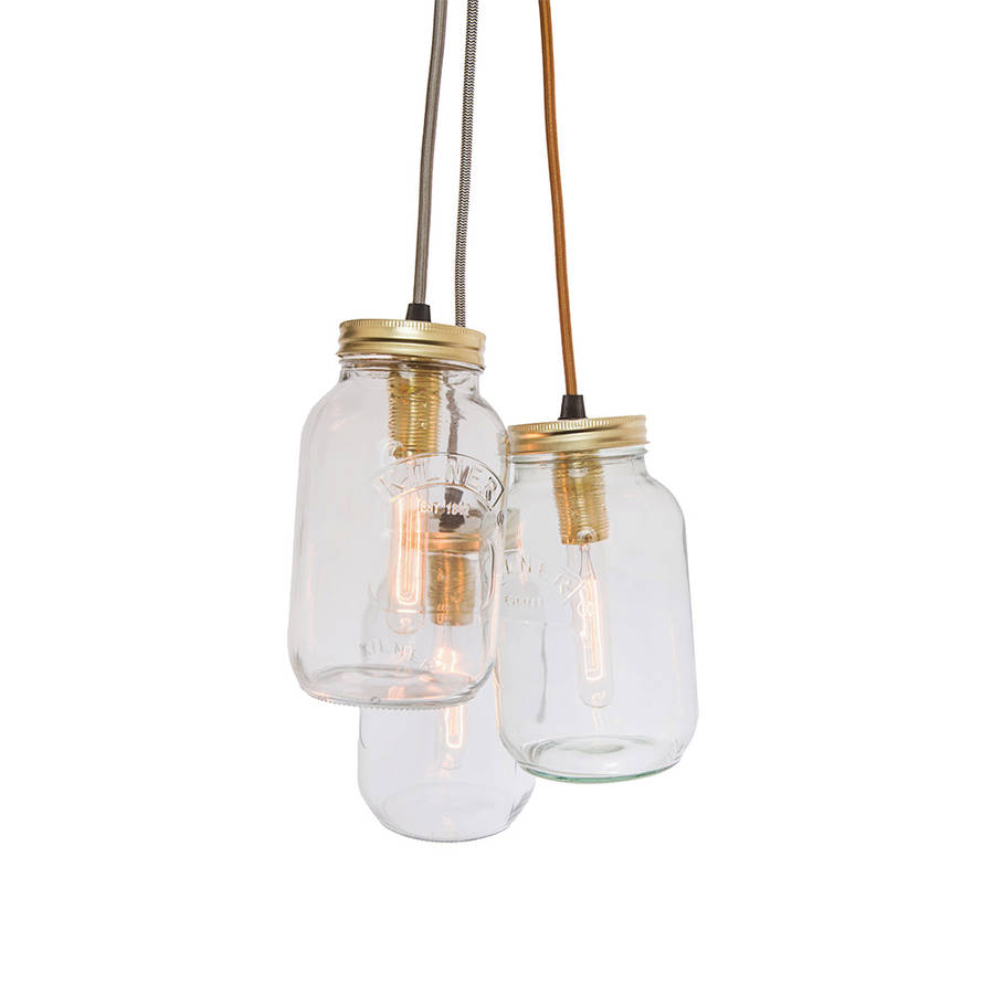 Three Jam Jar Pendant Light