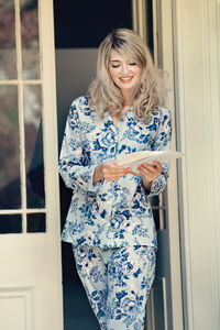 Ladies Pyjama Set In Blue Rosetta Print