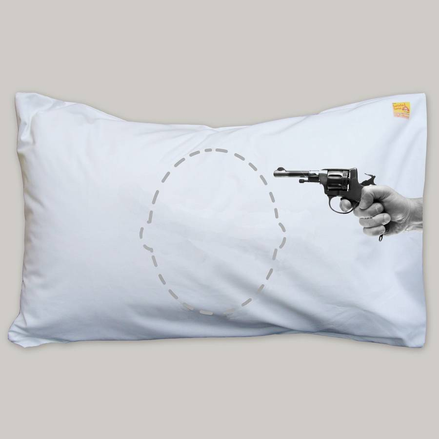 Personalised Funny Joke Gun Headcase Pillowcase