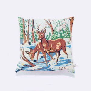 Winter Forest Stag Tapestry Print Cushion - cushions