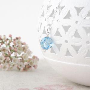 Alice Aquamarine Swarovski Crystal And Silver Pendant - necklaces & pendants